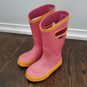 Bogs Pink Rain Boots Girls Size 10